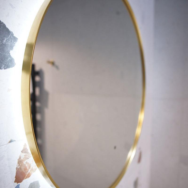 Granlusso Oro LED Mirror With Heated Pad - Brushed Brass