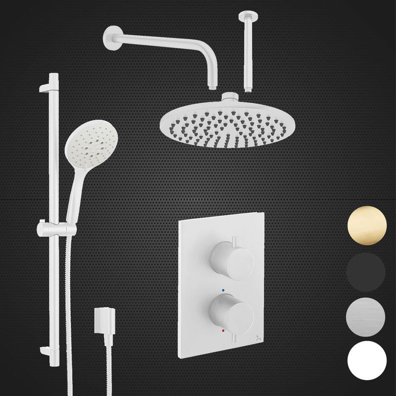 Crosswater MPRO Dual Outlet Concealed Thermo Shower Valve With Slide Rail Shower Kit & Fixed Shower Head