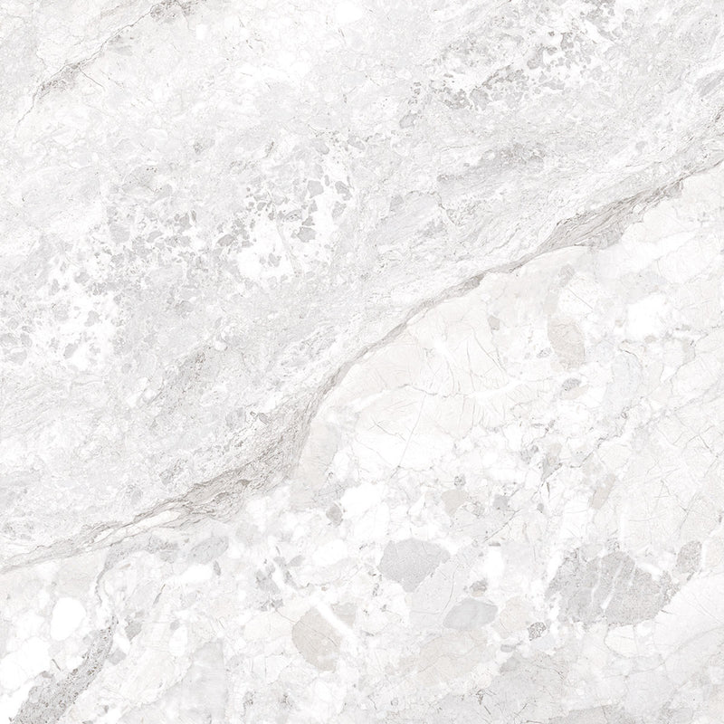 Dreamy Cloud 4D Shaped Matt White Marble Tile 100 x 100cm