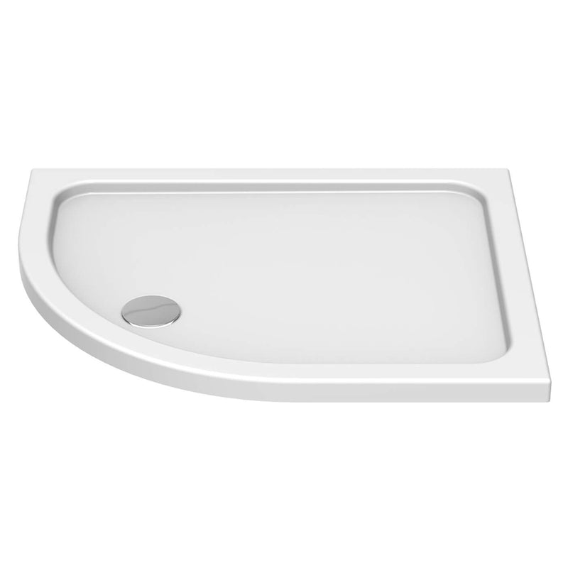 Deluxe Low Profile White Offset Quadrant Shower Tray With Waste