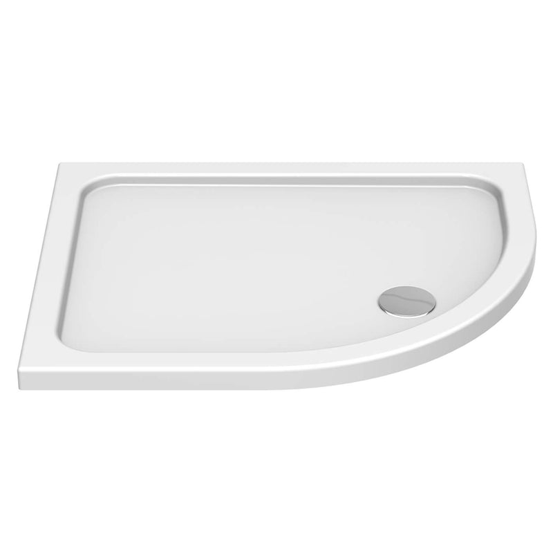 Deluxe Offset Quadrant Low Profile White Shower Tray With Waste
