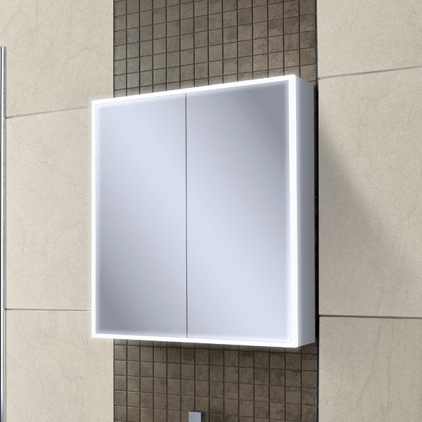 HiB Qubic LED Mirrored Cabinet With Charging Socket