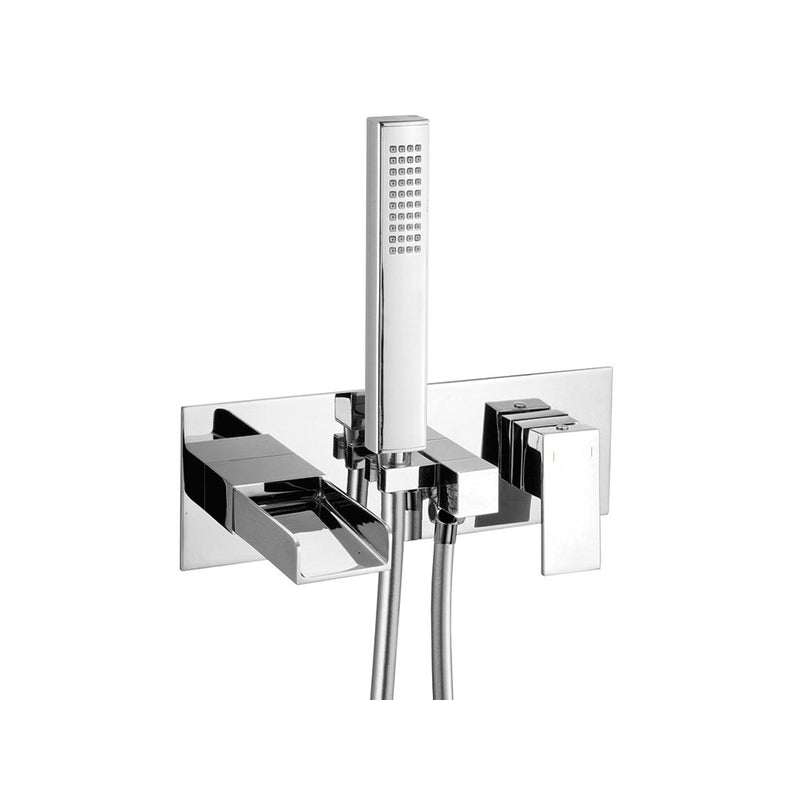 Granlusso Riviera Wall Mounted Bath Shower Mixer With Handset Kit Chrome