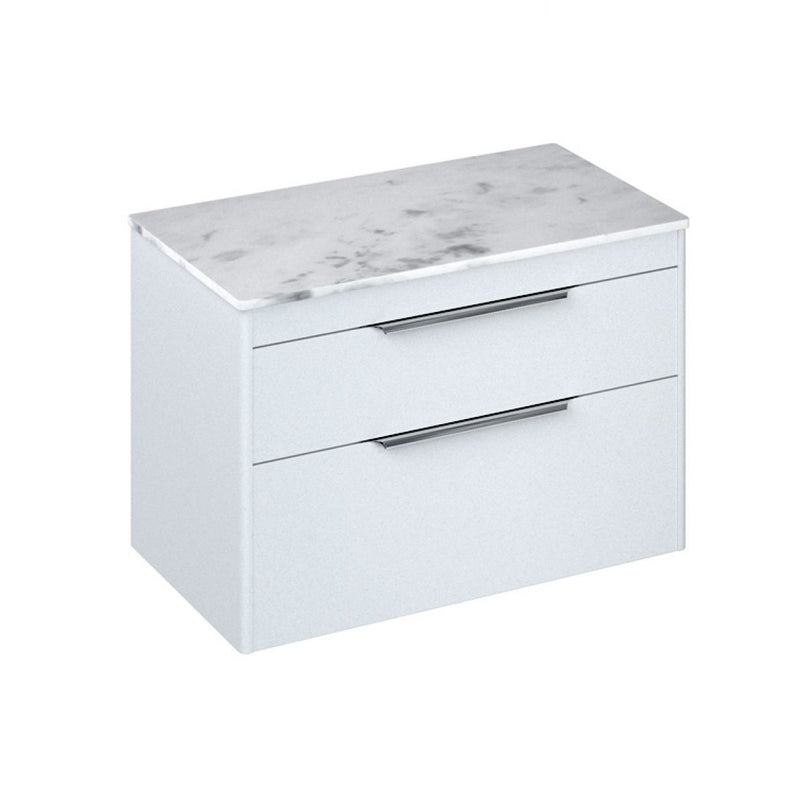 Shoreditch Double Drawer Wall Hung Vanity Unit With Worktop & Quad Basin