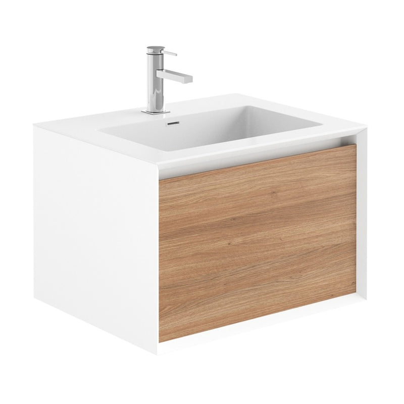 Soxy White & Oak Single Drawer Wall Hung Vanity Unit With White Basin