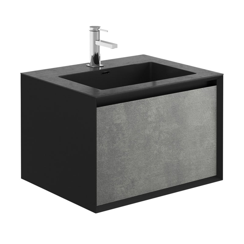 Soxy Black & Concrete Single Drawer Wall Hung Vanity Unit With Black Basin