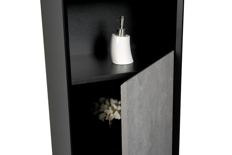 Soxy Wall Hung Tall Storage Cabinet - Black & Concrete