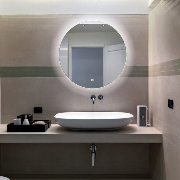 HiB Theme LED Illuminated Round Bathroom Mirror