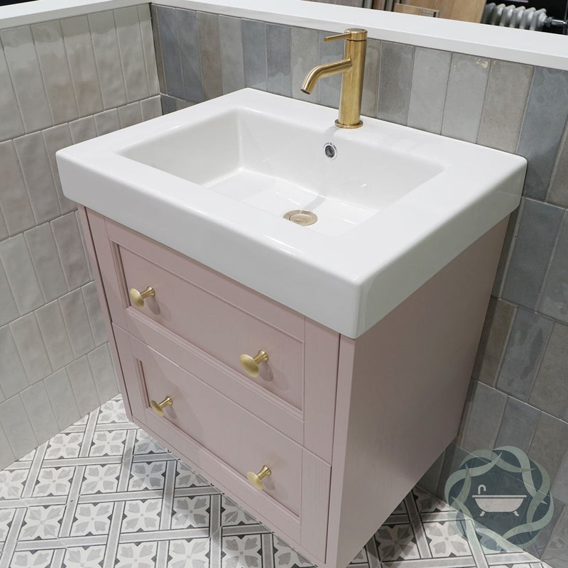 Roseberry 2 Drawer Wall Mounted Vanity Unit With Ceramic Slabtop Washbasin