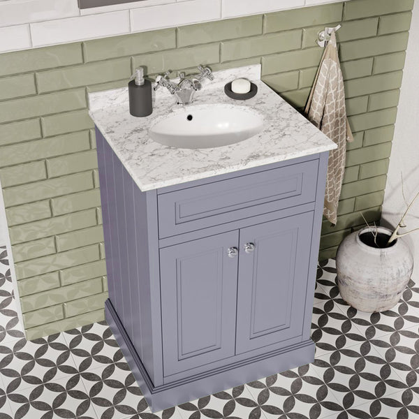 Hampton 600mm Floor Standing Vanity Unit With Marble Worktop and Basin