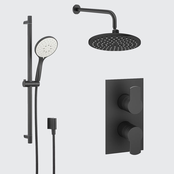 Crosswater Wisp Matt Black 2 Outlet Thermostatic Shower Valve With Slide Rail Kit & Fixed Showerhead