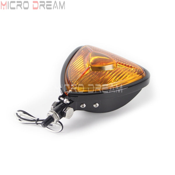 Motorcycle 12v 55w Vintage Head Lights Retro Triangle Yellow Lens Headlamp for Harley Chopper Cruisers Bobber Custom Headlight
