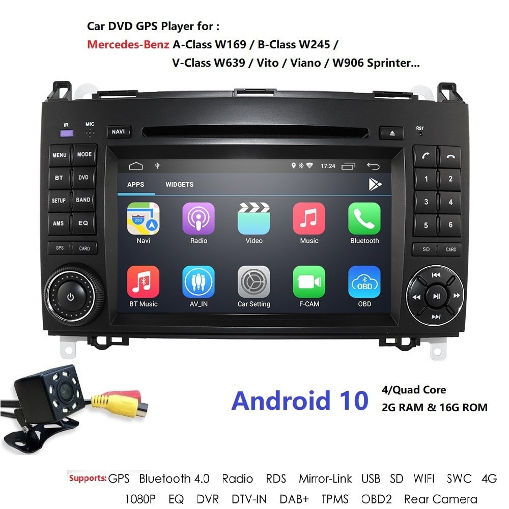 Android 102Din Auto Radio Car DVD GPS Head unit for Mercedes Benz B200 B Class W169 W245 Viano Vito W639 Sprinter W906 Bluetooth