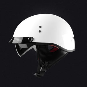 Vintage Half Face Motorcycle Helmet Casco Casque Moto Retro Helmets With Inner Sun Visor