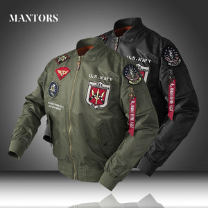 Men Jackets Pilot New Casual Military Tactical Coats Waterproof Slim Fit Mens Zipper Bomber Jacket Motorcycle Clothing EU Size
