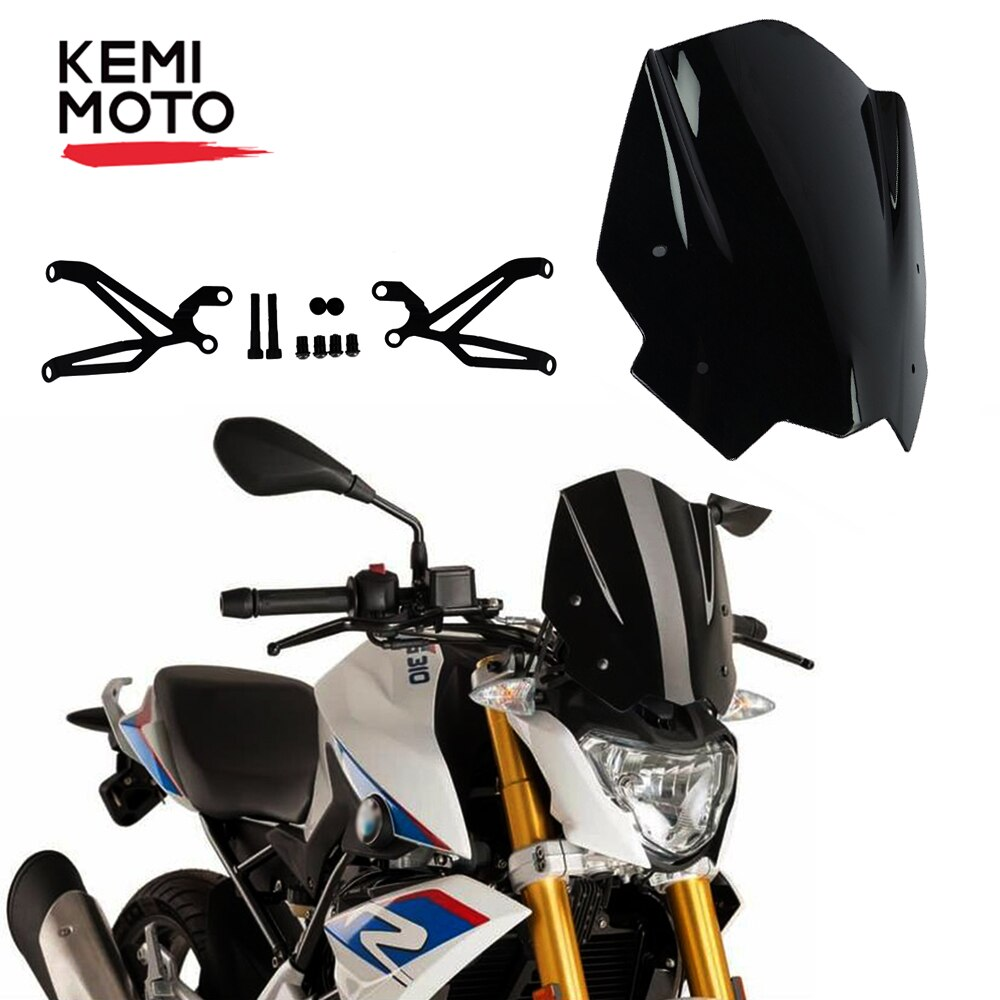 For BMW G310R G 310R 2017 2018 2019 Motorcycle Windshield Windscreen with Mounting bracket High Quality ABS Plastic