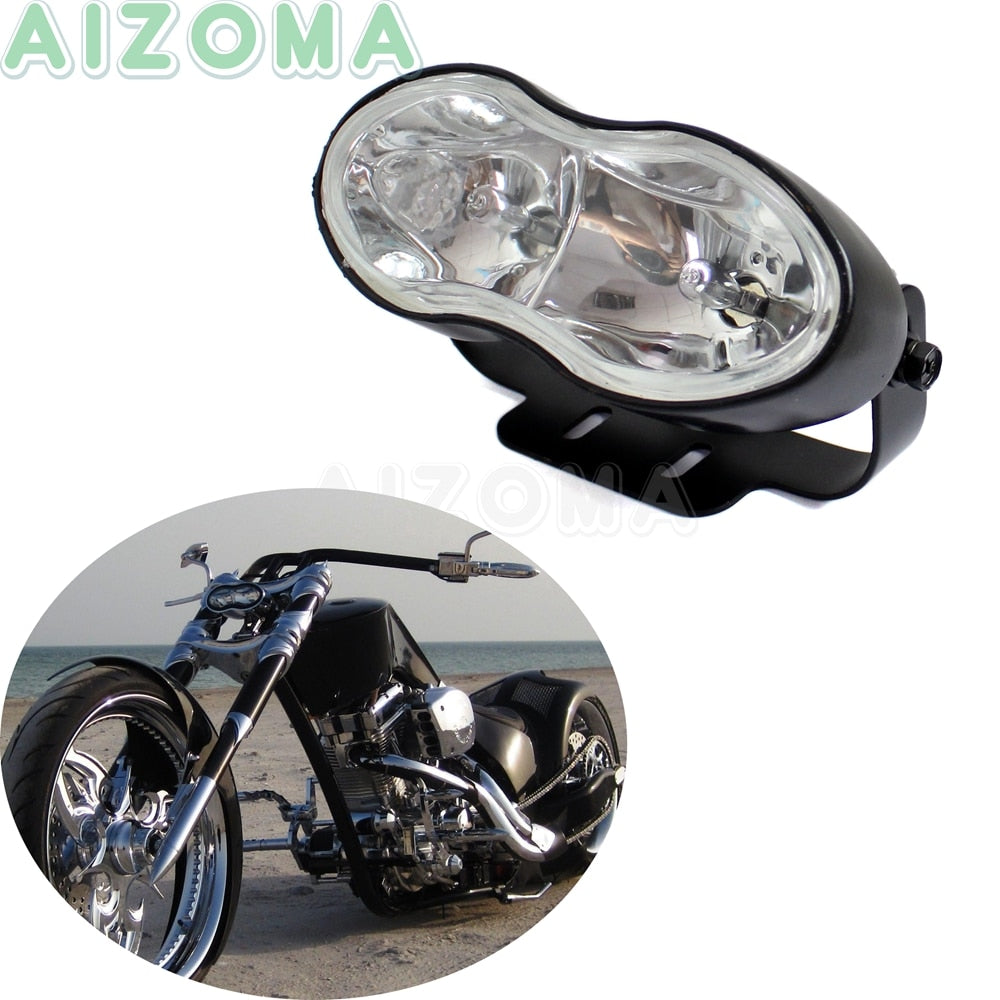 Cafe Racer Motorcycle Wave Headlight 12V/55W Double Twin Headlamp For Harley Sportster Cruisers Chopper Custom H3 Blub Lights