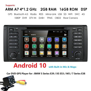 IPS DSP 2G+16G Android 9.0 CAR DVD GPS For BMW 5 Series E39 X5 E53  M5 7 Series E38 multimedia player stereo radio automotivo bt
