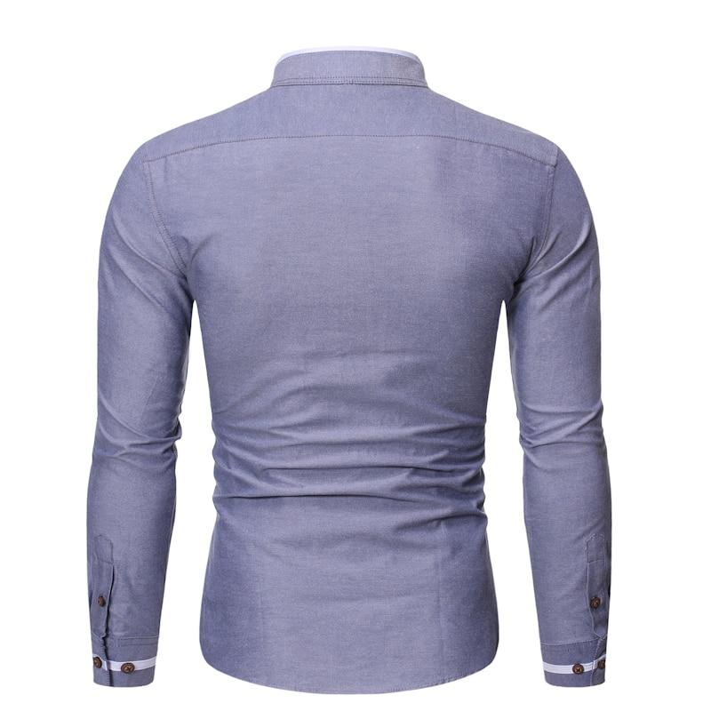Casual Mandarin Collar Long Sleeve Shirt