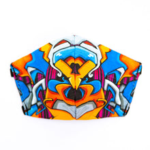 Load image into Gallery viewer, Graffiti art print fabric mask, front view.