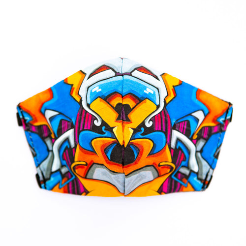 Graffiti art print fabric mask, front view.