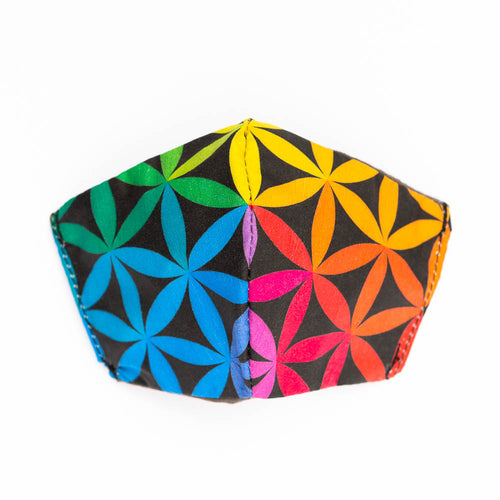 Sacred Color Wheel art print fabric mask, front view.