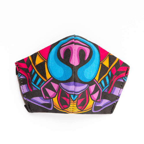 Color Bear art print fabric mask, front view.