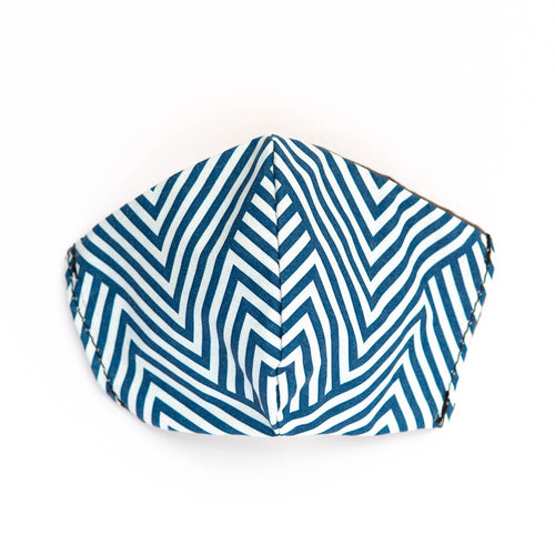 Blue Chevron art print fabric mask, front view.