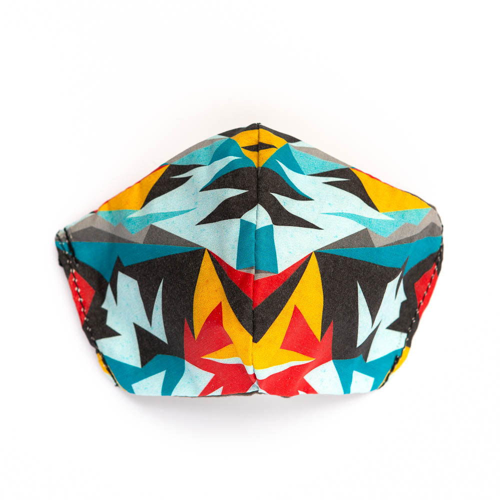 Triangular art print fabric mask, front view.