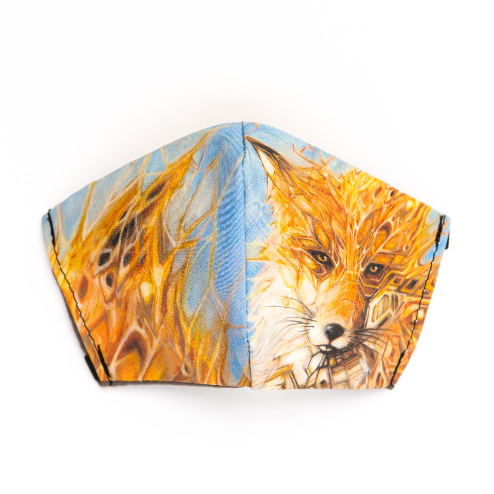 Fox art print fabric mask, front view.
