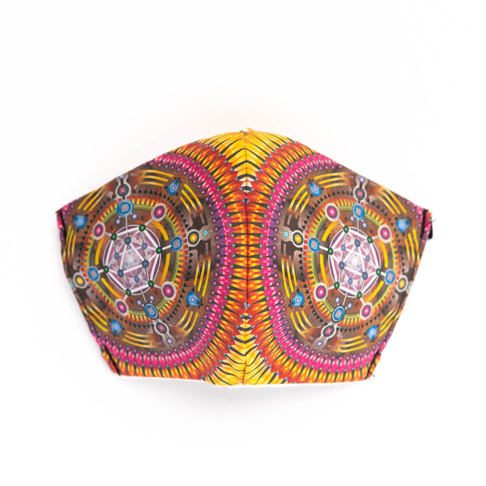 Galactivation art print fabric mask, front view.
