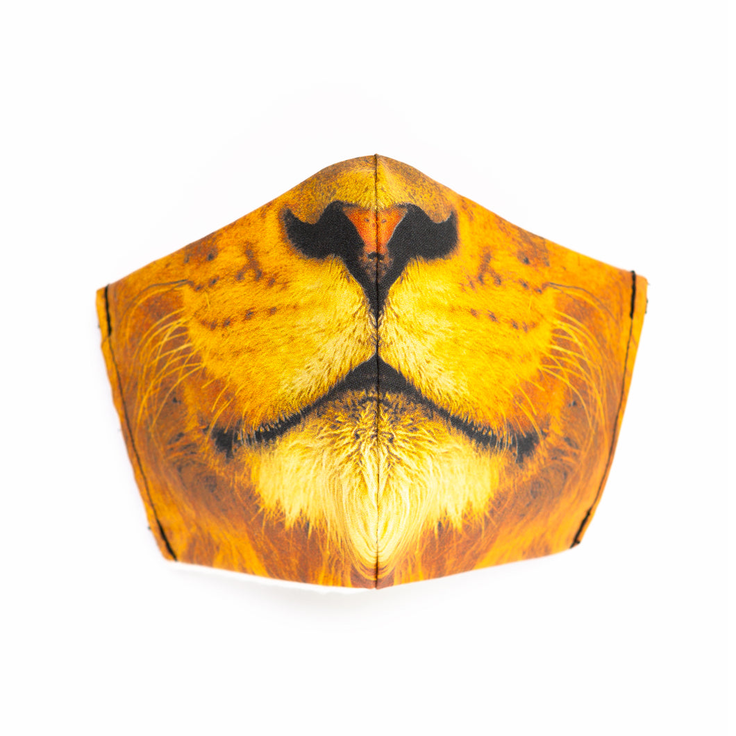 Lion art print fabric mask, front view.