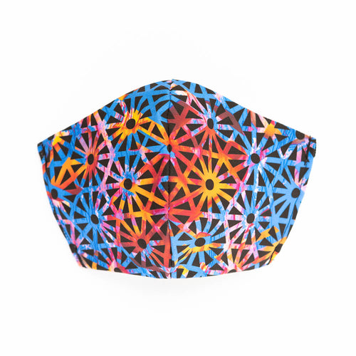 Geometric Jelly art print fabric mask, front view.