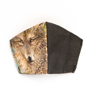 Wolf art print fabric mask, front view.