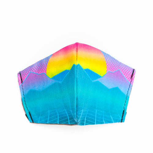 Neon Landscape art print fabric mask, front view.