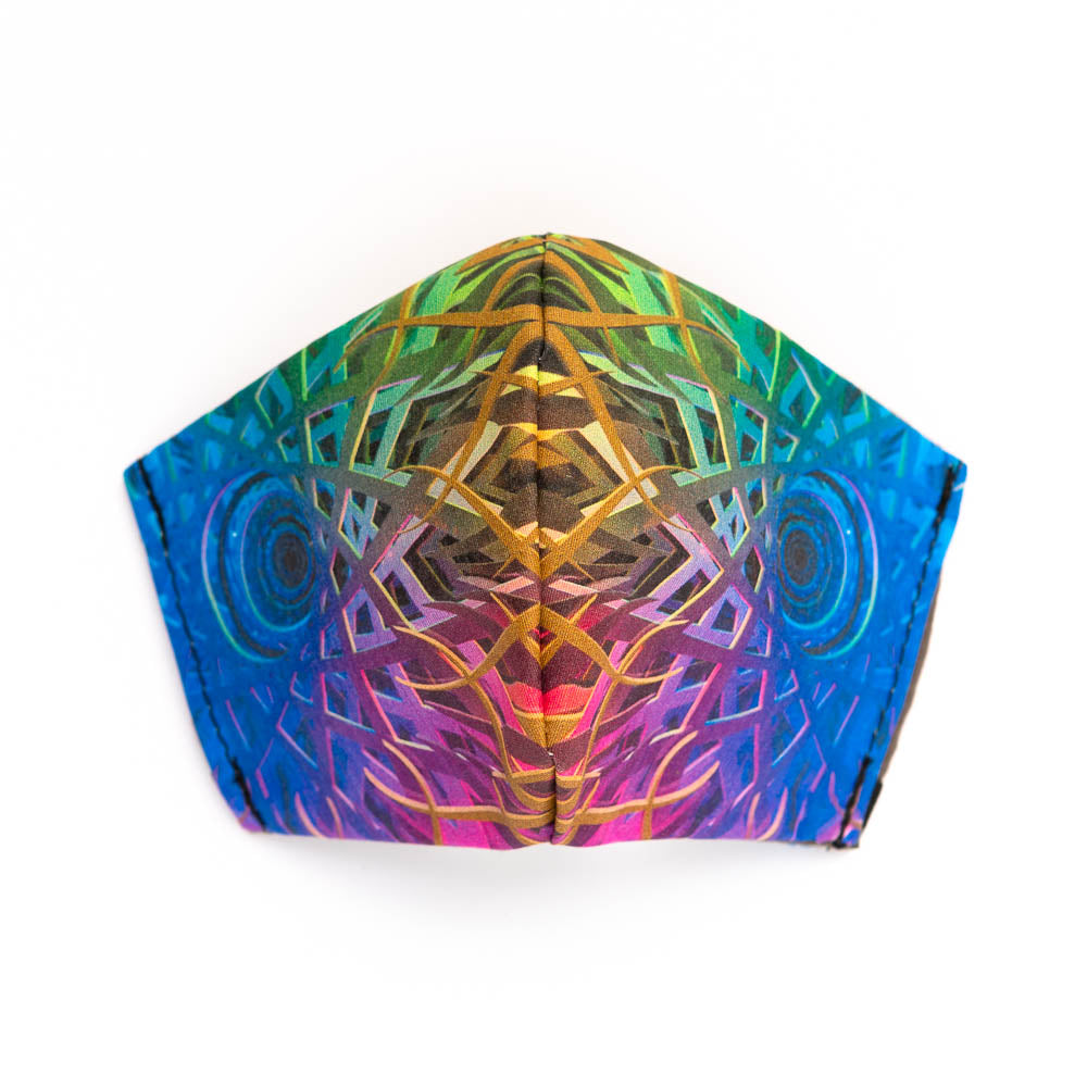 Infinity art print fabric mask, front view.