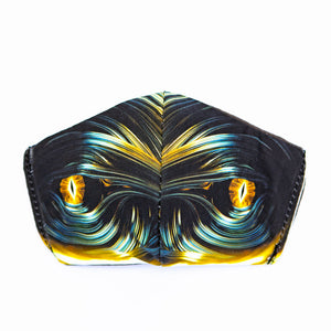 Fractal Eyes art print fabric mask, front view.