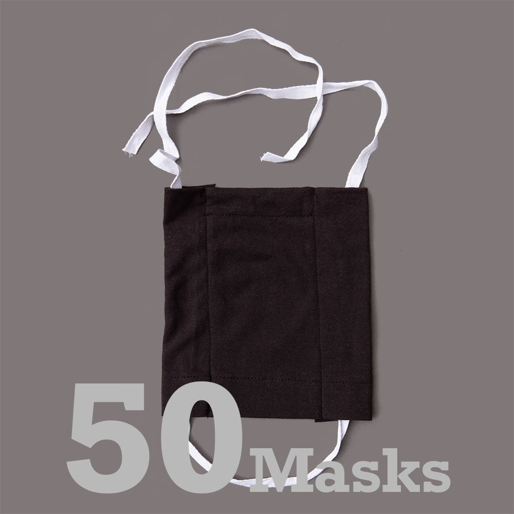 Economy Cotton Masks-Black 50 Pack