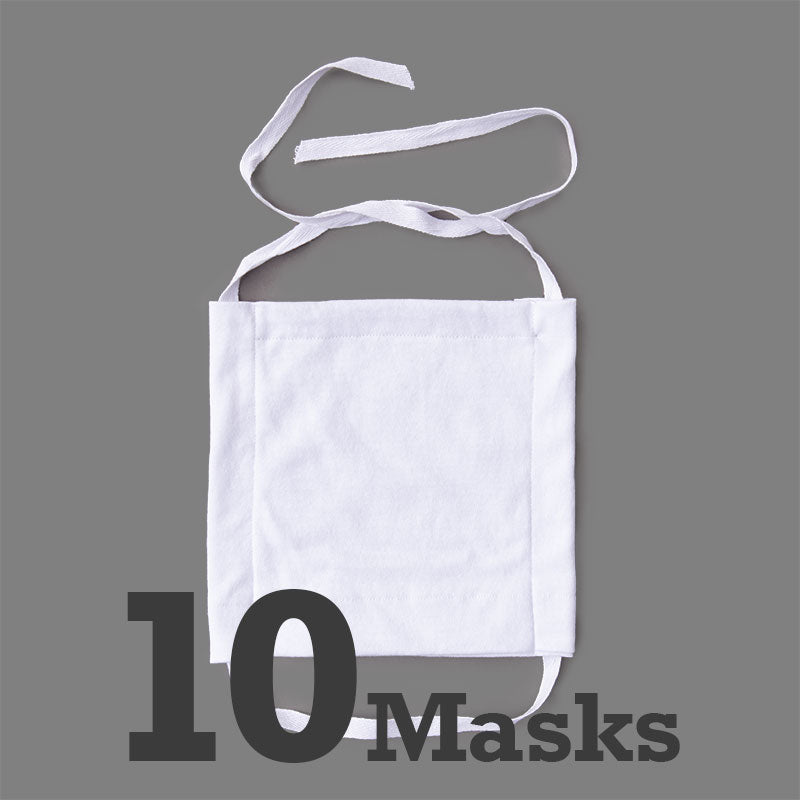 Economy Cotton Masks-White 10 Pack