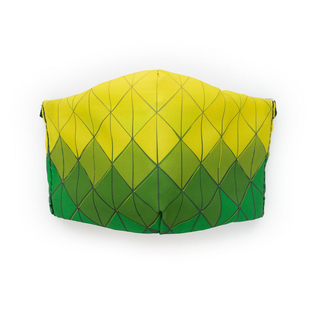 Diamond Tiles - Green and Yellow: Art Print Face Mask- Adult