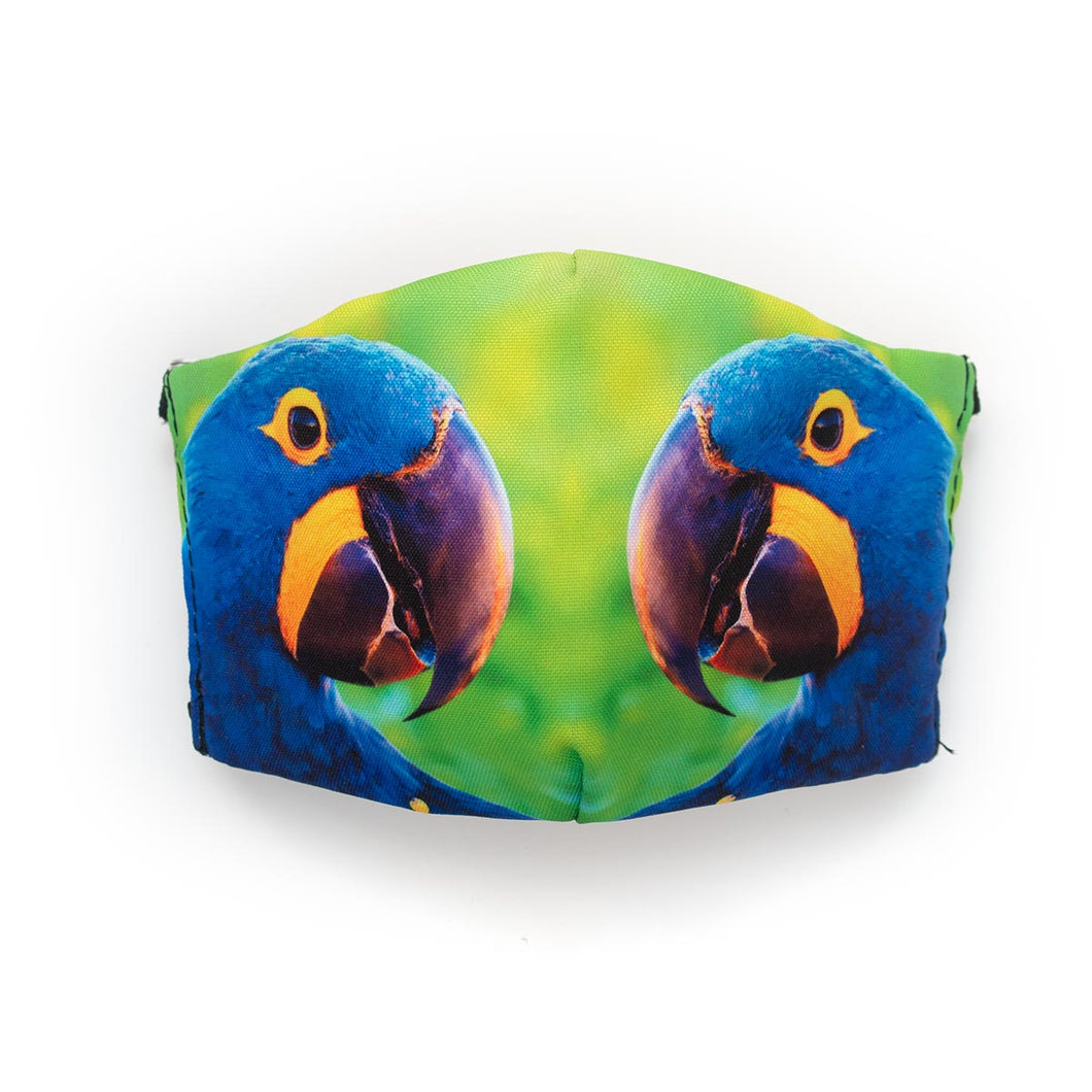 Hyacinth Macaw Mirrored: Art Print Face Mask- Child