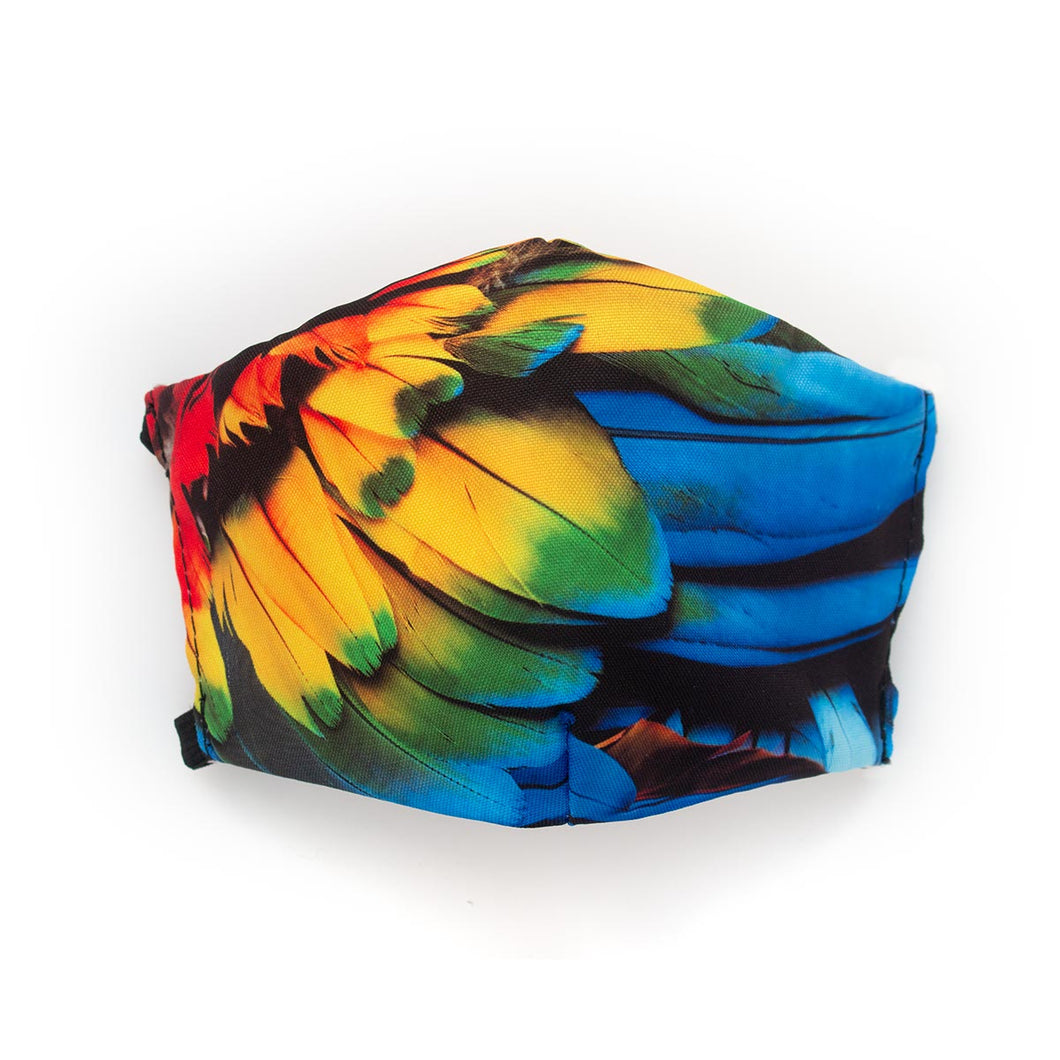 Scarlet Macaw Feathers: Art Print Face Mask- Child