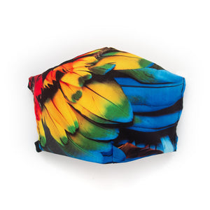 Scarlet Macaw Feathers: Art Print Face Mask- Adult