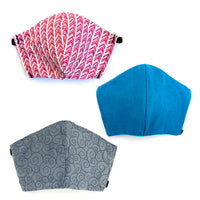 Assorted 3 pack, Hand-Made Fabric Masks