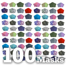 Load image into Gallery viewer, Assorted 100 pack, Hand-Made Fabric Masks