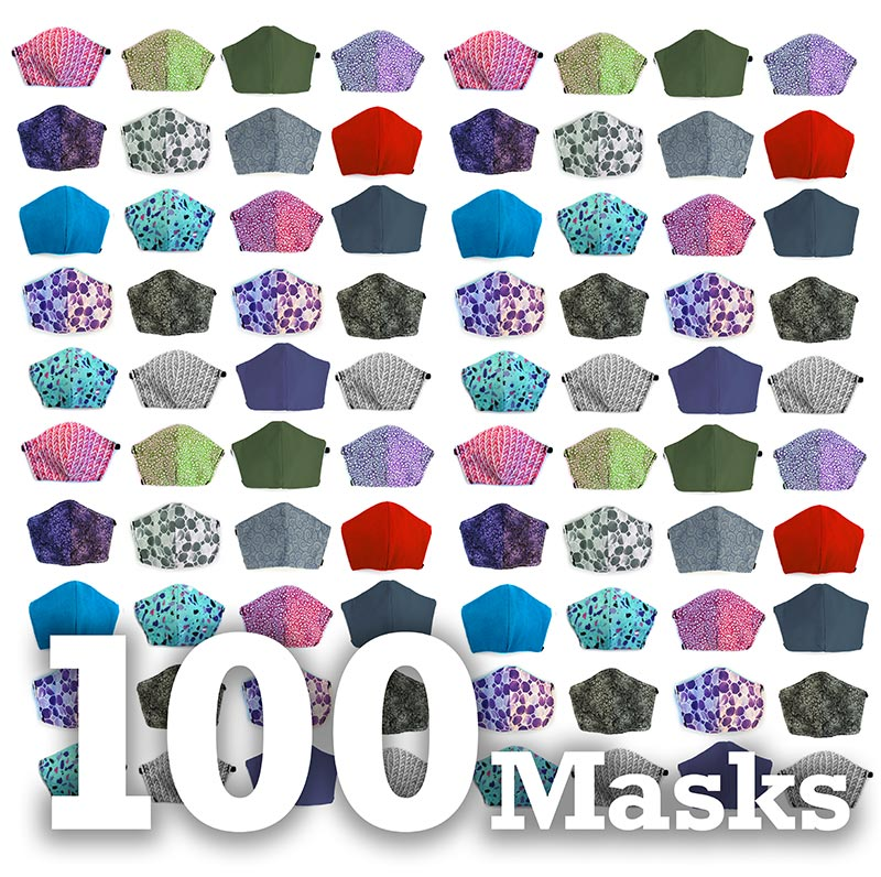 Assorted 100 pack, Hand-Made Fabric Masks
