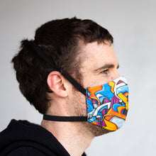 Load image into Gallery viewer, Graffiti art print fabric mask, on face, side view.