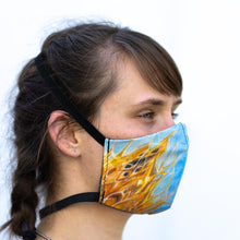 Load image into Gallery viewer, Fox art print fabric mask, on face, side view.