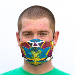 Bam! art print fabric mask, on face, front view.