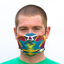 Load image into Gallery viewer, Bam! art print fabric mask, on face, front view.